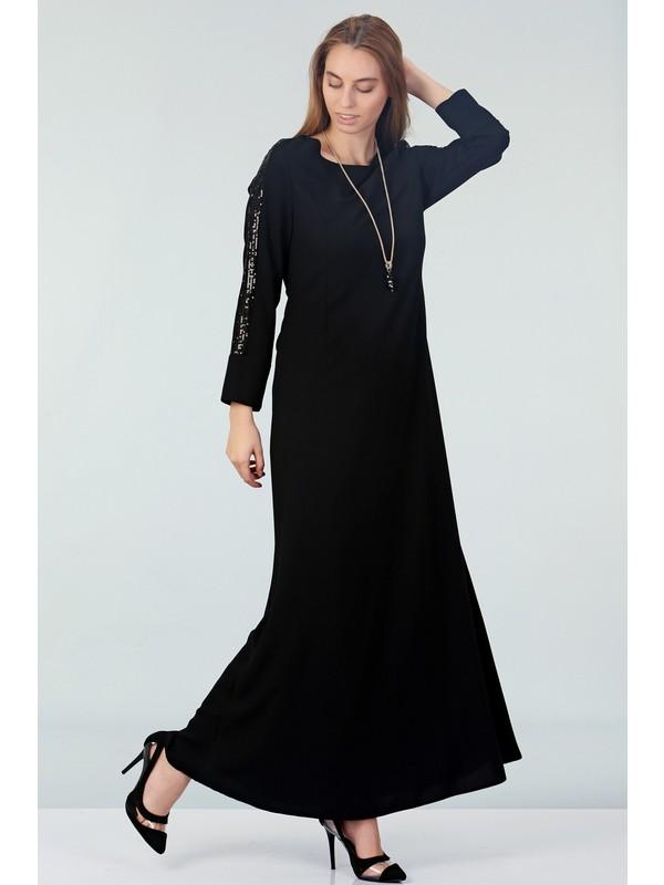 Repp Kolları Payetli Abiye Elbise - Siyah