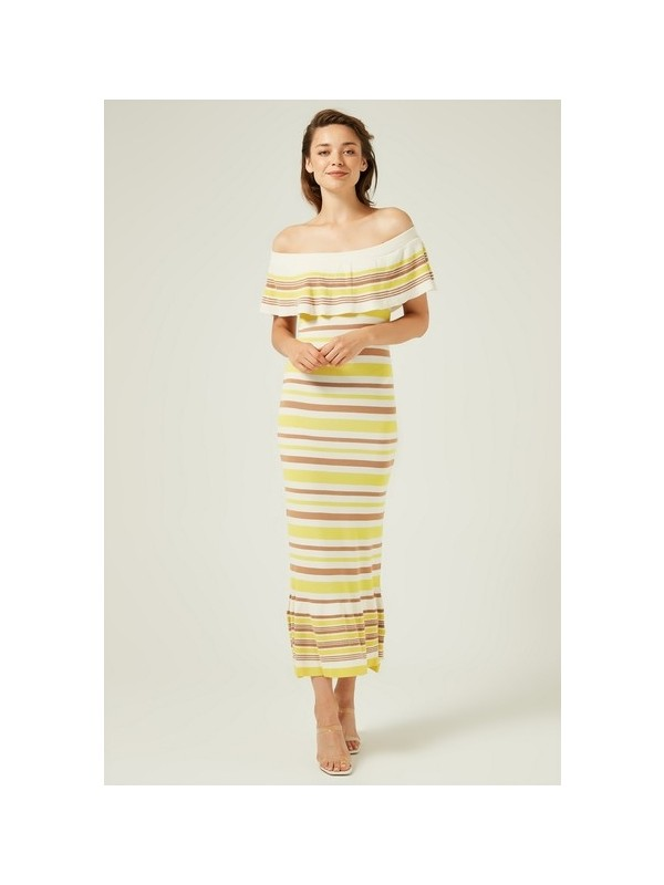 Join Us Bardod Fırfırlı Çizgili Triko Elbise