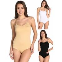 Tutku Kadın Karışık Renk 3'lü Paket İp Askılı Likralı Kancalı Çıtçıtlı Body ELF568T0148CCM3