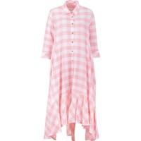 Bize Fashion 2420 Kadın Elbise Beyaz-Pembe