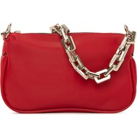 Bagmori Kırmızı Plastik Zincirli Saten Baget Çanta