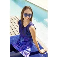 Haşema Palmiye Desenli Sıfır Kol Saks Mavisi Havuz Mayo H20-2855
