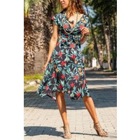 New Laviva Kısa Kollu Çiçek Desenli Siyah Kadın Elbise