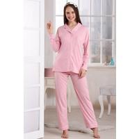 Emose Düğmeli Kadın Pijama Takım Pembe