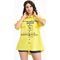 Modkofoni Baskılı Kısa Kollu Sarı Gömlek