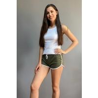 Esepetim Kadın Sweatshirt Spor Mini Lastikli Şort Haki (M)