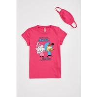 DeFacto Kız Çocuk Kral Şakir Lisanslı Tişört ve Maske Takım S2923A620HS