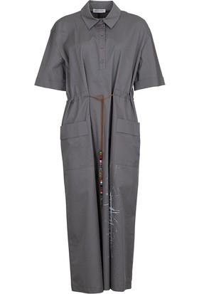 Bize Fashion 2370 Kadın Elbise Koyu Gri