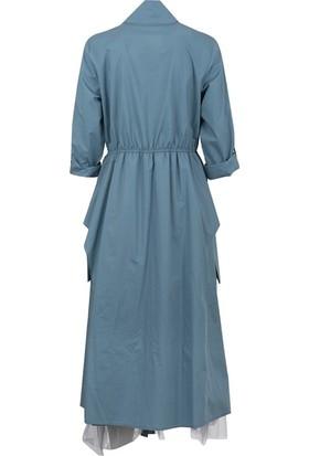 Bize Fashion 2402 Kadın Elbise Gri-Mavi