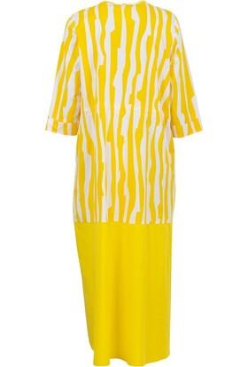 Bize Fashion 2317 Kadın Elbise Sarı-Beyaz