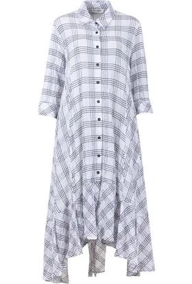 Bize Fashion 2420 Kadın Elbise Beyaz-Siyah