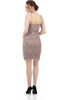 Carmen Bakır Dantelli Simli Askılı Abiye Elbise
