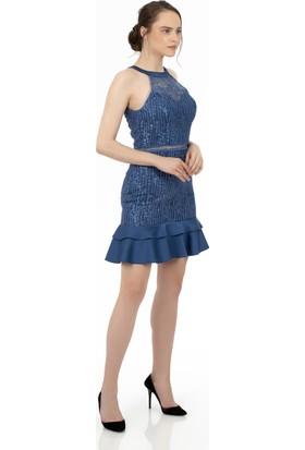 Carmen İndigo Eteği Saten Garnili Kısa Abiye Elbise