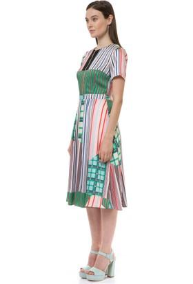 Birelin Renkli Çizgili Elbise