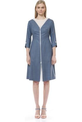 Birelin Şerit Fermuar Detaylı Elbise