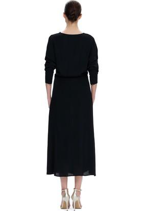 Demet Şener Siyah Yarasa Kol Uzun Elbise