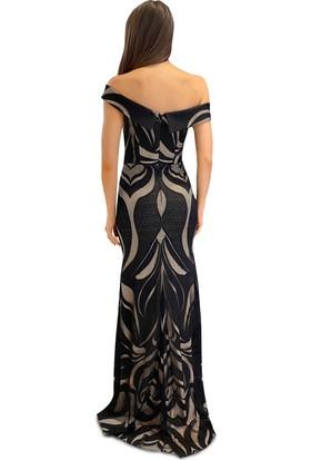 Carmen Siyah Dantelli Carmen Yaka Abiye Elbise