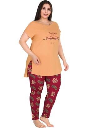 Lady Büyük Beden Kadın Orange Tunikli Pijama Takımı
