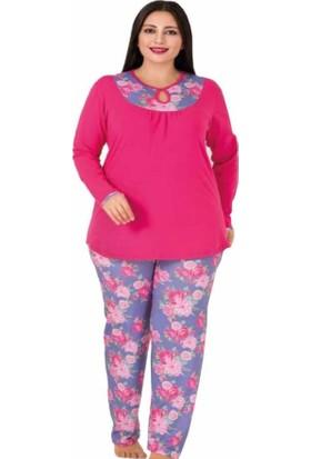 Lady Çiçekli Uzun Kollu Büyük Beden Pijama Takım