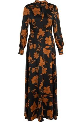 Gusto Uzun Kollu Manşetli Çiçek Desenli Uzun Elbise - Siyah