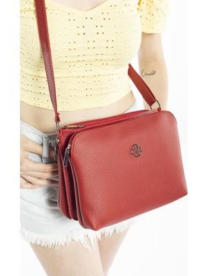 Madamra Kırmızı Kadın Beş Gözlü Çok Bölmeli Çapraz Çanta Postacı Çantası Ve Omuz Çantası