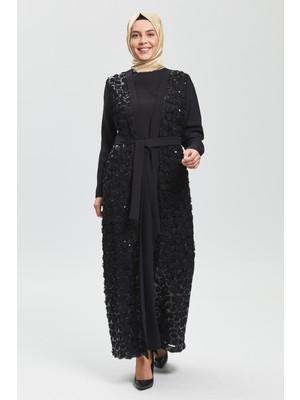 İhvan Derin Siyah Çiçekli Ferace 8018-20