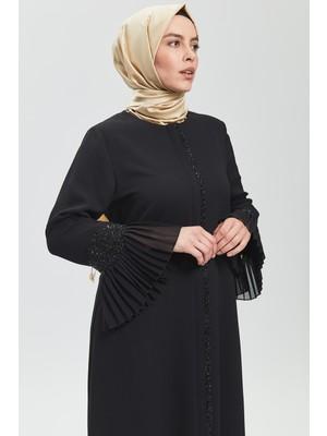 İhvan Derin Siyah Kolu Taş Fırfırlı Ferace 9047-20