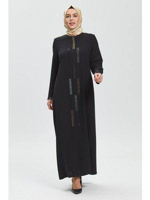 İhvan Derin Siyah Renk Zigzag Taşlı Kadın Ferace 9070-20