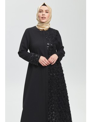 İhvan Derin Siyah Yarım Payet Ferace 9121-20