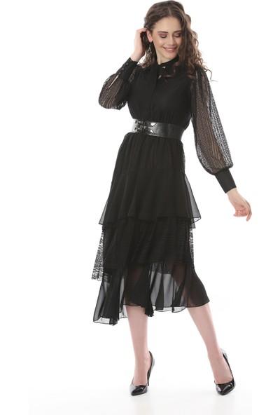 MCG Collection 538 Kadın Kemerli Asimetrik Dantel-Şifon Elbise