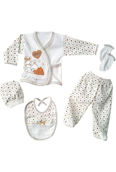 AlpCollection Kahverengi Tavşan Hastane Çıkışı Erkek Bebek 5'li Set