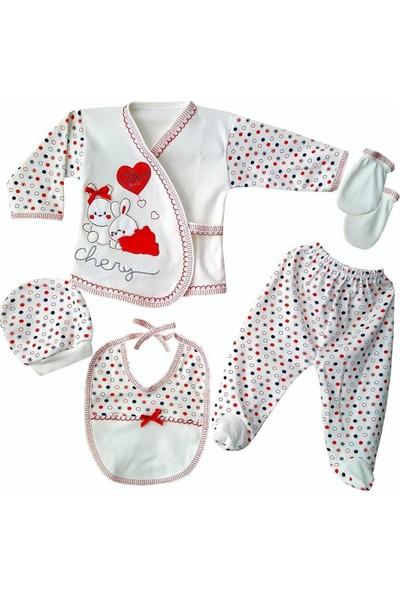 AlpCollection Kırmızı Tavşan Hastane Çıkışı Kız Bebek 5'li Zıbın Set