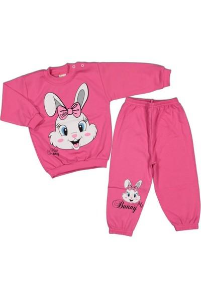 AlpCollection Pembe Tavşan Kız Çocuk 2'li Pamuklu Alt Üst Takım