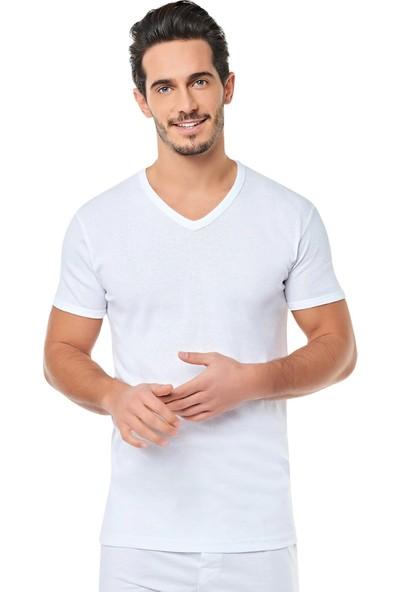 Seher 6'lı Paket Ribana V Yaka Erkek T-Shirt