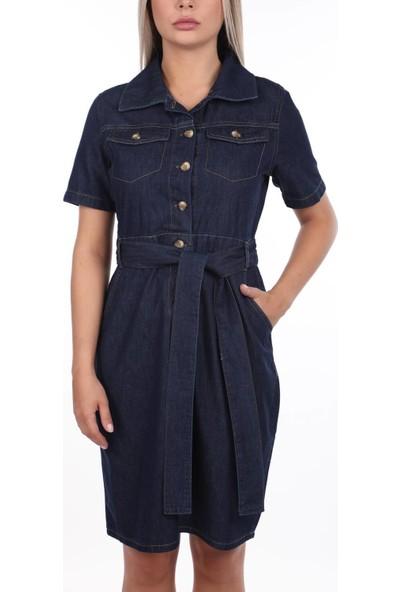 Banny Jeans Kemer Detaylı Kot Elbise Lacivert M