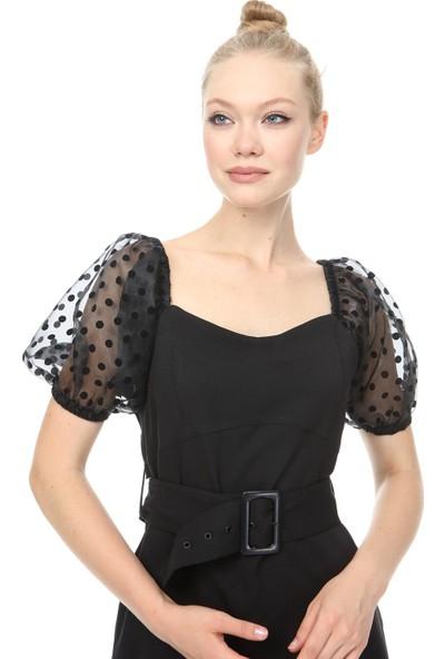 Giysimburada Kısa Balon Kolu Olan Elbise
