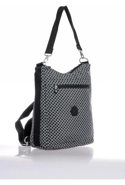 Smart Bags SMB3069-0127 Siyah/beyaz Kadın Omuz ve Sırt Çantası