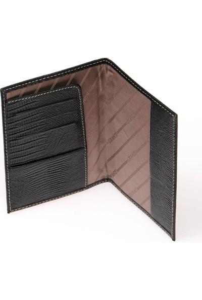 Grande GRERKCZ753 Lazer Siyah Unisex Pasaport Cüzdanı