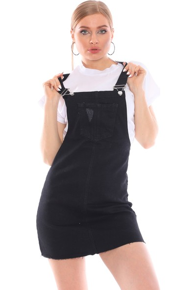 Alışveriş Sokağı Önü Cepli Kot Tulum Salopet Elbise