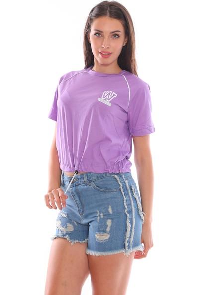Alışveriş Sokağı Wildcats Vahşi Kedi Baskılı Beli Lastikli Ayarlamalı T-Shirt
