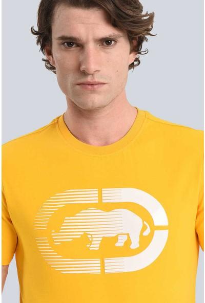 Ecko Sarı Erkek Baskılı Bisiklet Yaka T-Shirt