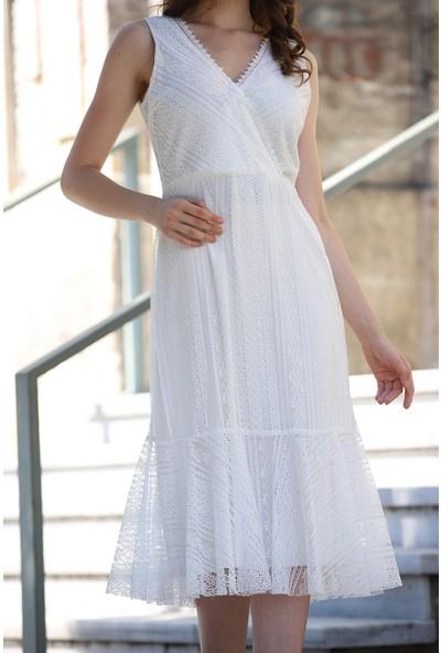 MCG Collection 294 Kadın Kruvaze Yaka Fermuarlı Dantel Elbise