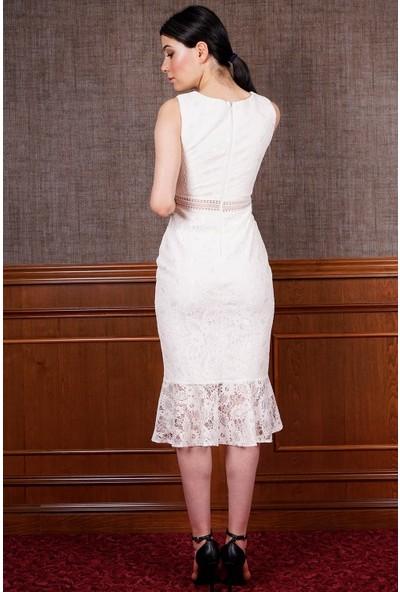 SpringStore Ekru Kısa Mezuniyet Elbisesi