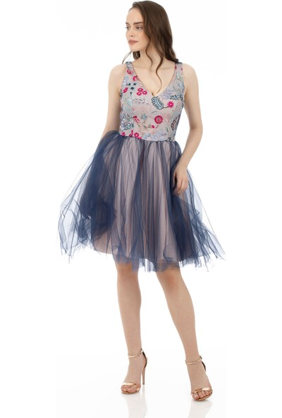 Carmen Lacivert İşlemeli Tül Abiye Elbise