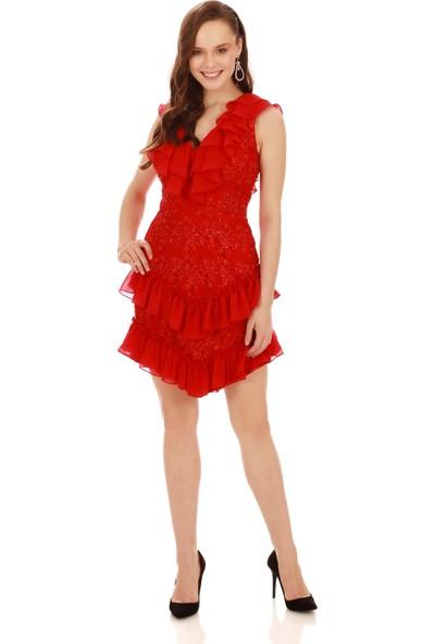 Carmen Kırmızı Şifon Garnili Dantel Abiye Elbise