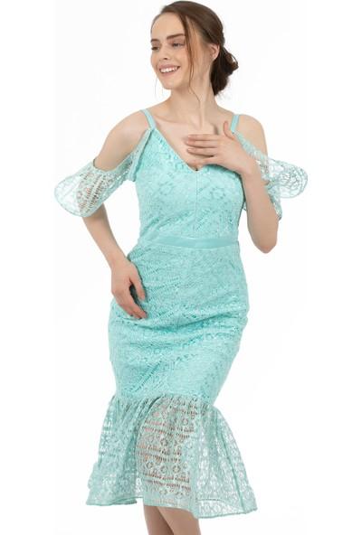 Carmen Mint Dantelli Kolları Volanlı Kısa Abiye Elbise