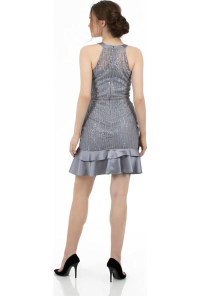Carmen Gri Eteği Saten Garnili Kısa Abiye Elbise