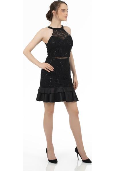 Carmen Siyah Eteği Saten Garnili Kısa Abiye Elbise