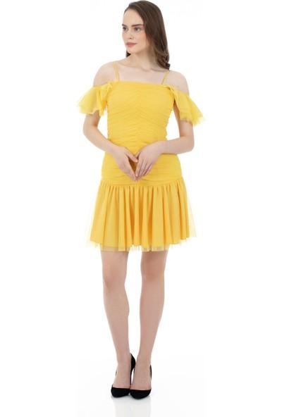 6ixty8ight Sarı Drapeli Tüllü Kısa Abiye Elbise
