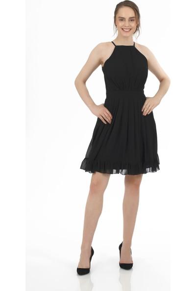 Carmen Siyah Şifon İnce Askılı Kısa Abiye Elbise